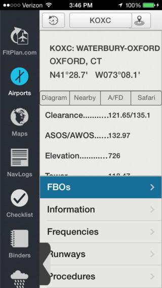 iPhone FltPlan Go Airport Info