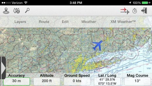 iPhone FltPlan Go Moving Maps